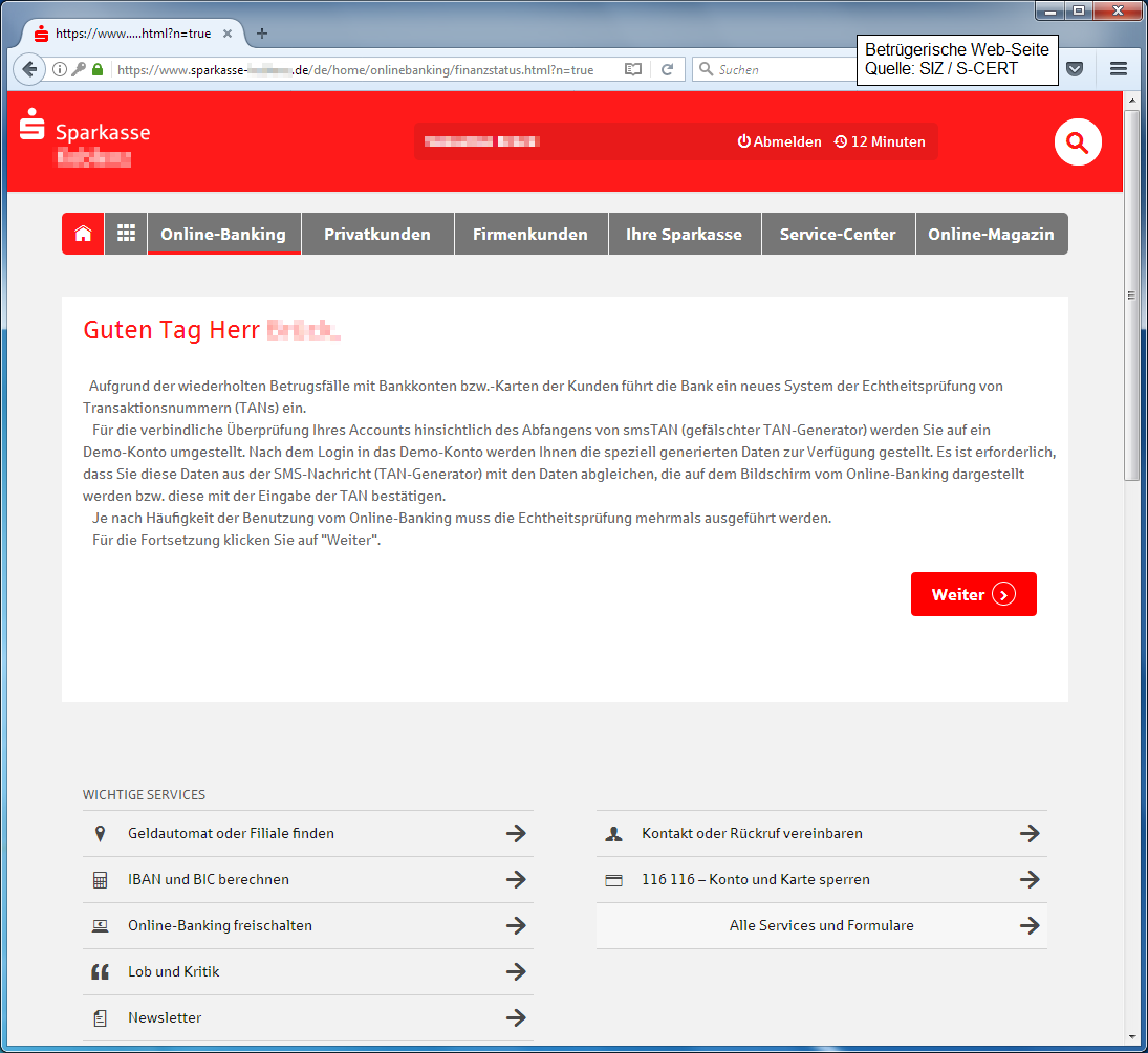 Aktuelle Sicherheitswarnungen   Berliner Sparkasse